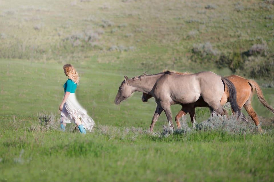 Tjej med hästar